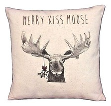 Moose Christmas Pillow Rustic, Merry Kiss Moose Mistletoe Xmas Holiday - $20.00+