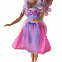 Vintage Barbie Pink Purple Fringed Tulle Doll Dress Snap Back - $5.93
