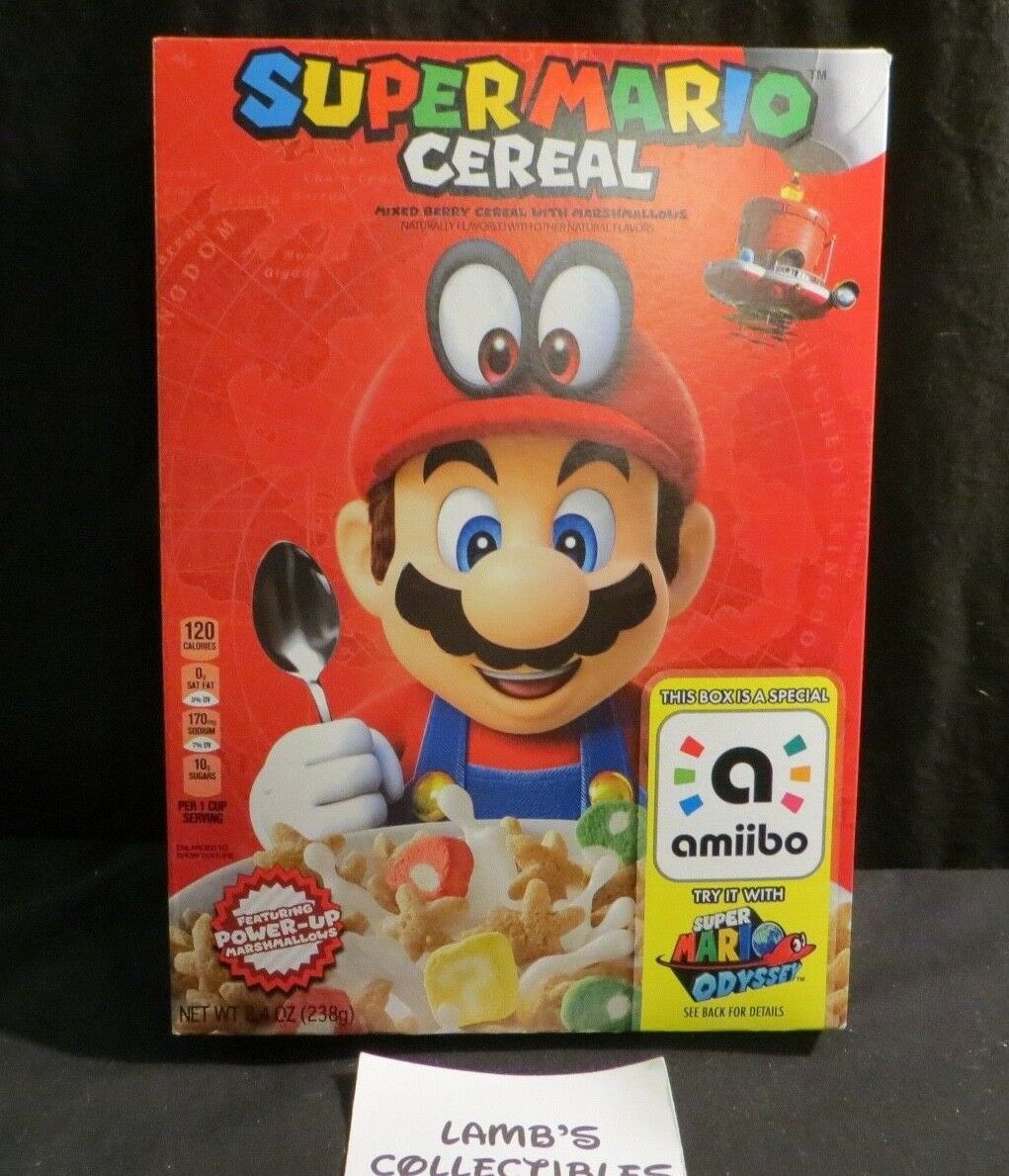 Primary image for Kellog's Nintendo Super Mario Odyssey Amiibo Cereal Limited Edition 8.4oz box