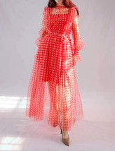 Red Long Tutu Dress Gowns Long Sleeve Vintage Inspired Pink Plaid Pattern image 8