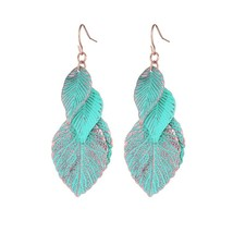 Drop Shipping 2017 NEW Vintage Blue Leaf  Earrings Leaf Earring Fashion ... - $8.36