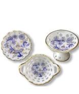Dollhouse Fancy Serving Set 1.434/6 Reutter Blue Onion 3-pc pierced Mini... - $18.80