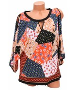 ECI Tile Print Cold Shoulder Top Floral Pattern Size Small NWT - $13.36