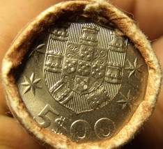 Gem Unc Original Roll (40) Portugal 1982 5 Escudos Coins~Ship~Free Shipping - $68.59