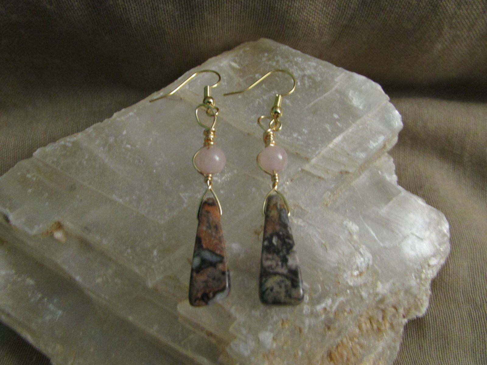 Pink Jasper & Rose Quartz earrings.