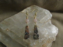 Pink Jasper & Rose Quartz earrings. - $13.00