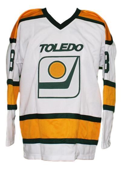 Custom name   toledo goaldiggers retro hockey jersey white   1