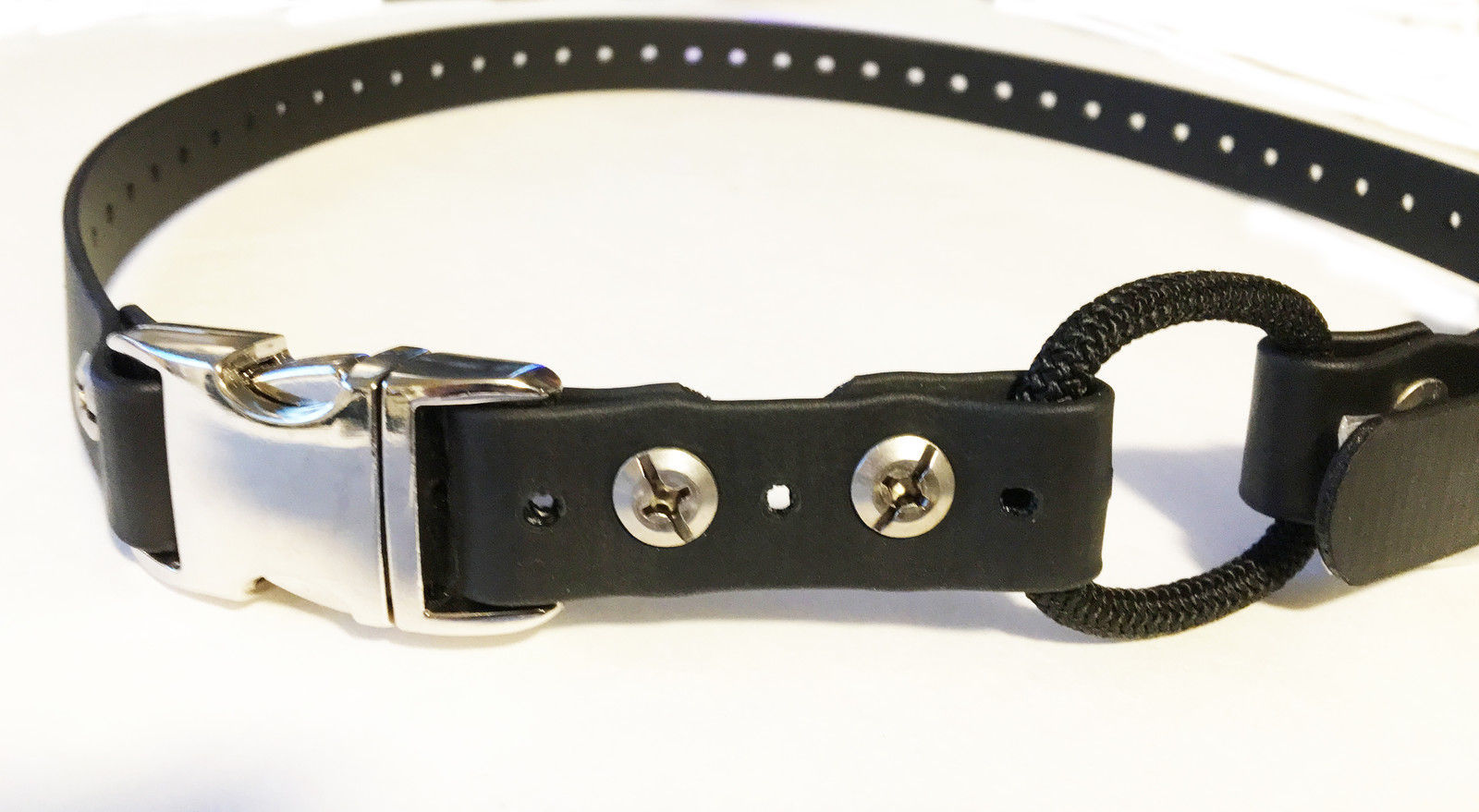 "E Collar 3/4"" Silver Metal Quick Snap Biothane Bungee Straps, Black 2 Widths"