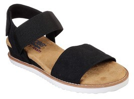 Womens Skechers Desert Kiss Black Strappy Sandals [31440BLK] - $42.00