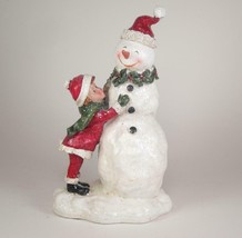 "Vintage Glittered Snowman with Child Winter Holiday Decor 8.5"" Tall - $21.73"