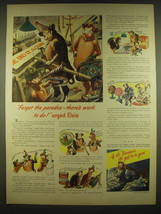 1944 Borden's Milk Ad - Forget the parades - there's work to do! Urged Elsie - $14.99