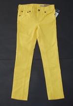 Ralph Lauren Bowery Skinny Pants 5 Girls Yellow Logo Crest Jeans Cotton NWT - $24.95