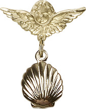 14K Gold Baby Badge with Shell Charm and Angel w/Wings Badge Pin 7/8 X 3/4 inch - $451.30