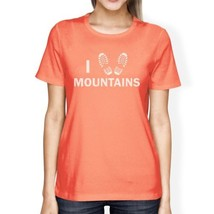 I Heart Mountains Peach Cute Graphic Design Tee Summer Trip T Shirt - $14.99+