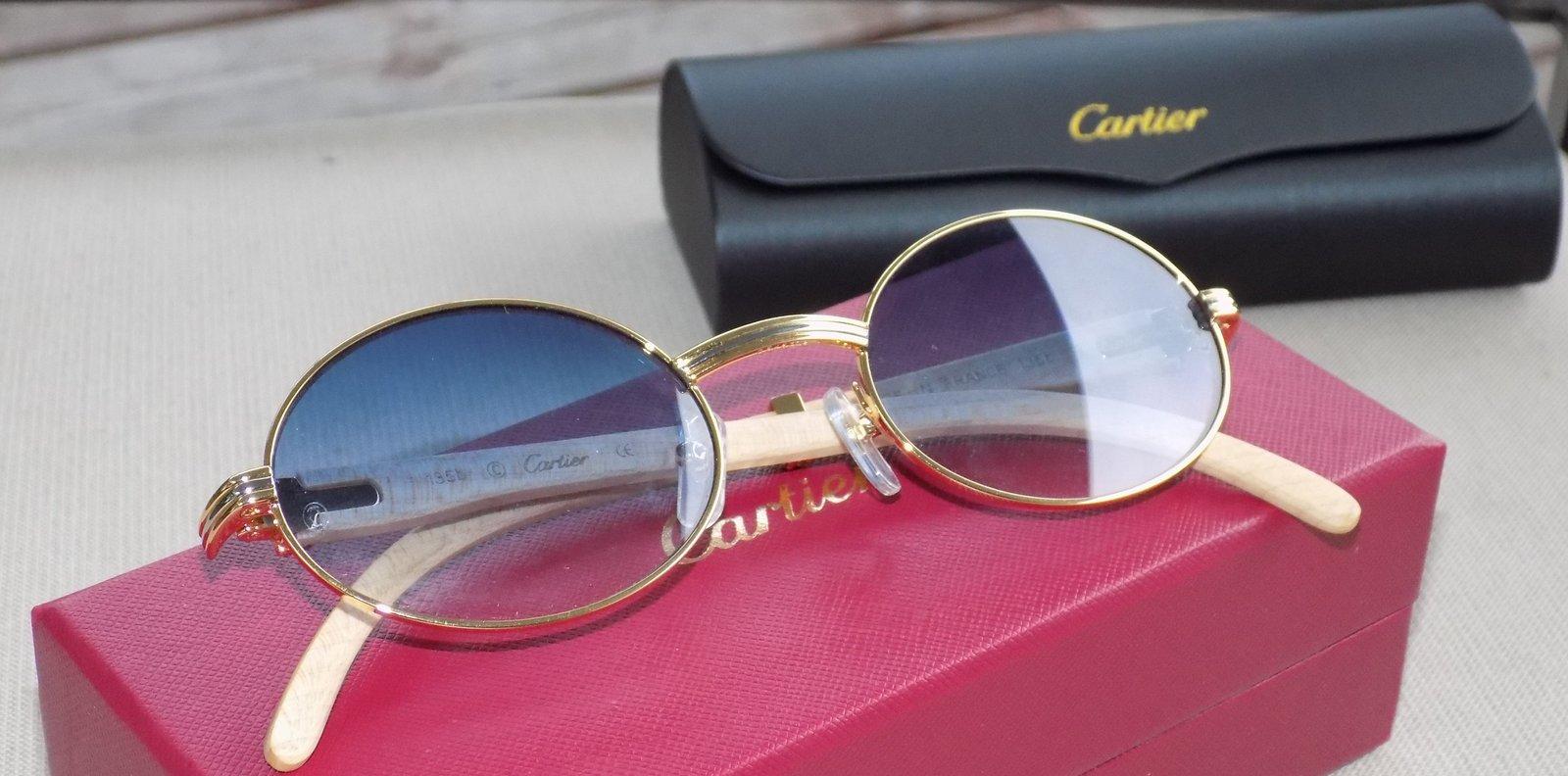 930493613c6 Cartier Smooth Tulip Whitewood Blue Lens Buffalo C Décor Sunglasses