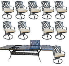 11 piece outdoor dining set cast aluminum powder coated 132 extension table. image 1