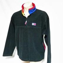 VTG 90s Tommy Hilfiger Fleece Pullover Jacket Flag Colorblock Spell Out ... - $68.99