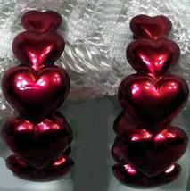 Avon Hearts Around Hoop Pierced Red Earrings Vintage 1991 New Valentines Day - $13.75
