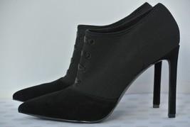 NEW Nine West Tria Womens Sz 9.5 M Black Suede Textile Tie Up Bootie Heels - $49.49