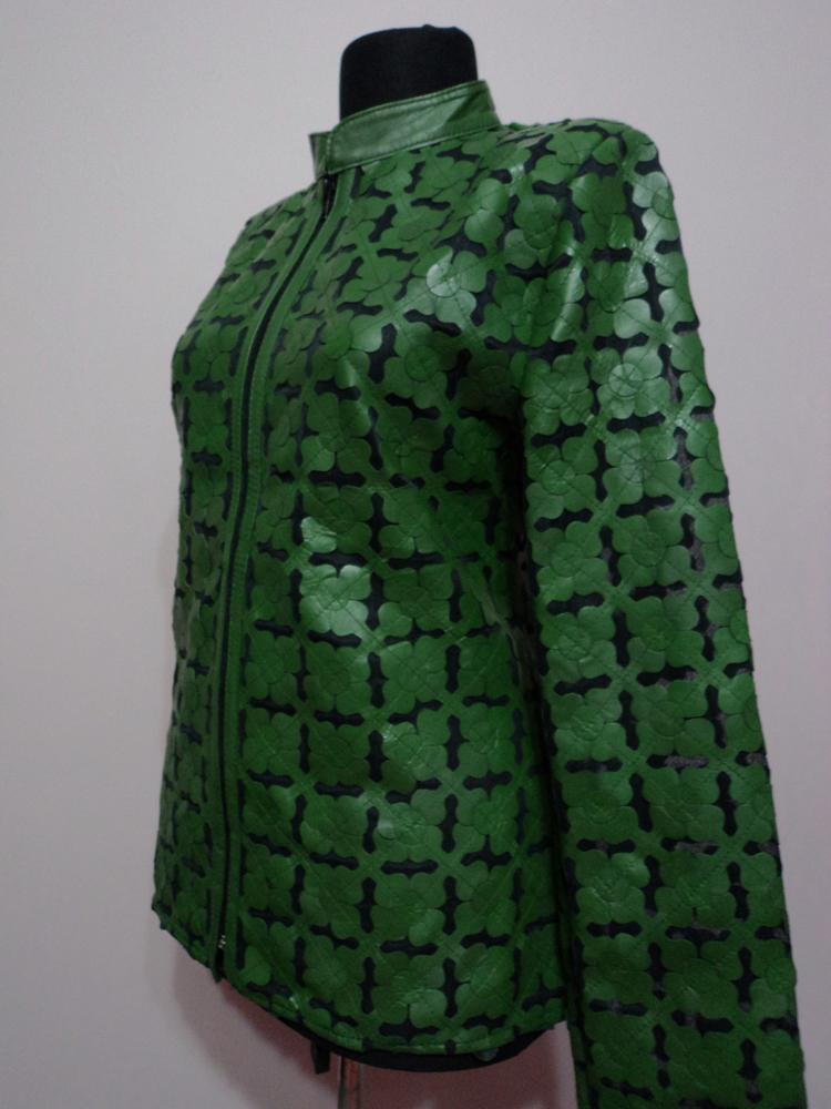 Green Leather Leaf Jacket Women All Colours Sizes Genuine Lambskin Zip Short D6