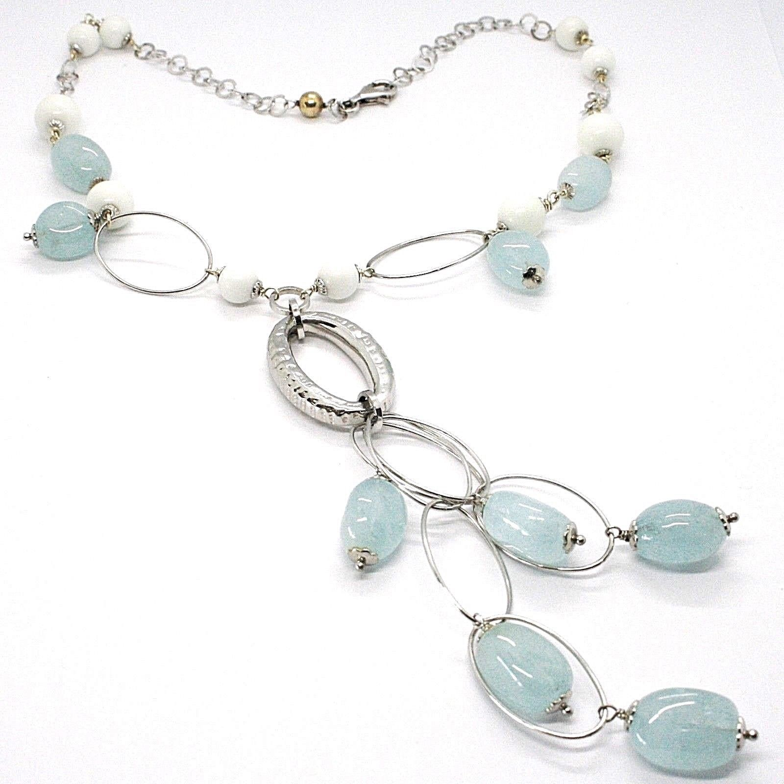 SILVER 925 NECKLACE, SPHERES AGATE WHITE, AQUAMARINE DROP, PENDANT, OVALS