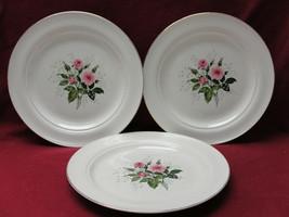 "Three (3) HALL China - HEATHER ROSE Pattern - 10"" DINNER PLATES - $25.95"
