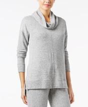 Alfani Brushed Cowl‑Neck Pajama Top in Light Heather Grey, 3XL - $18.80