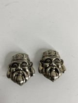 Vintage Silver Colored Clip On Figural Earrings Chinese Man Confucius - €33,38 EUR