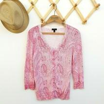 Talbots Cardigan Sweater Size S Pink White Paisley Beaded 3/4 Sleeve Cla... - $25.99