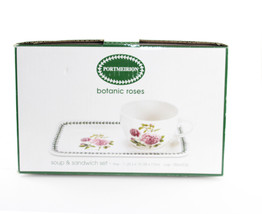 Portmeirion Botanic Roses Soup & Sandwhich Tray Set New in Box - $39.60