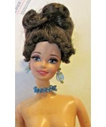 BARBIE Doll CE brunette up-do rooted lashes, nude, twist waist, has earr... - $19.99