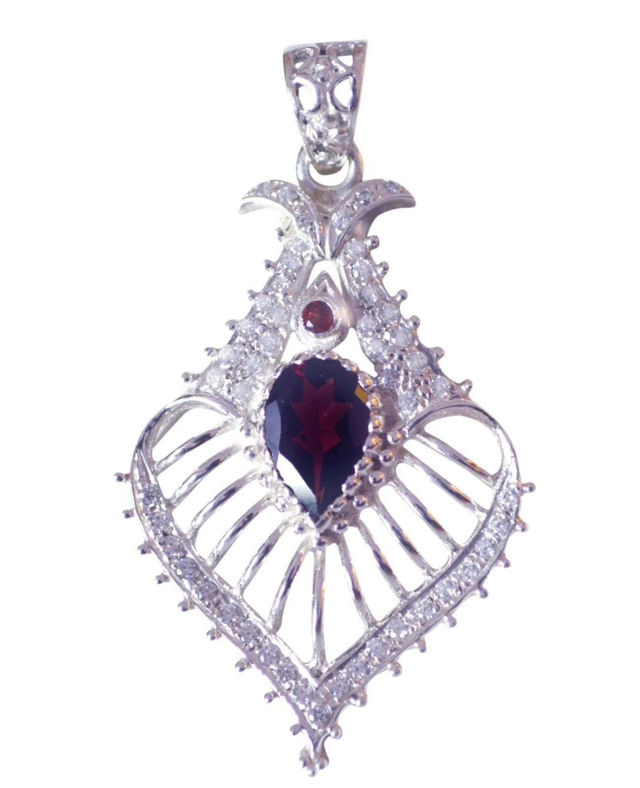 Red Chandelier India: India 925 Sterling Silver Pleasing Genuine Red Pendant UK