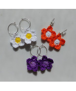 Crochet Flower Earrings / Crochet Flower Drops / Handmade Earrings - $10.00