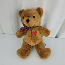 1983 Baby Things Teddy Bear Plush Stuffed Plaid Bow Heart Dakin Lovey 14... - $29.69