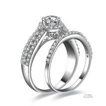 0.56 ct Round Cut Halo Pave Set 925 Silver Cubic Zirconia Engagement Ring Set - $54.48