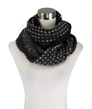 Le Nom Soft Hairy Yarn w/Crochet Knit Infinity Scarf (Black) - $12.86