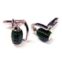 army green on silver ww2 mills grenade design Cufflinks , cuff links in gift box