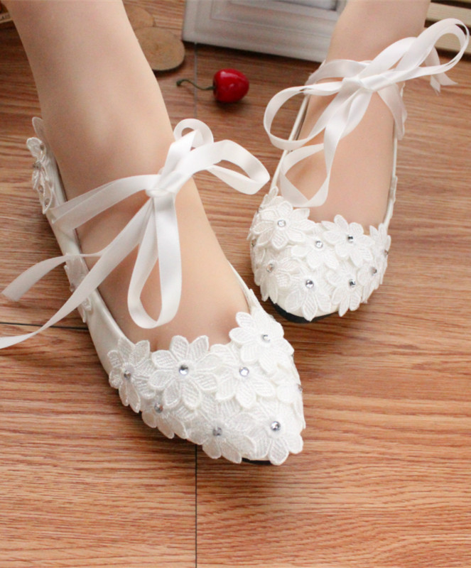 Primary image for Women Ribbon Ankle Straps Ivory White Bridal Flats Shoes US 4,5,6,7,8,9,10,11