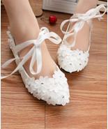 Women Ribbon Ankle Straps Ivory White Bridal Flats Shoes US 4,5,6,7,8,9,... - £30.95 GBP