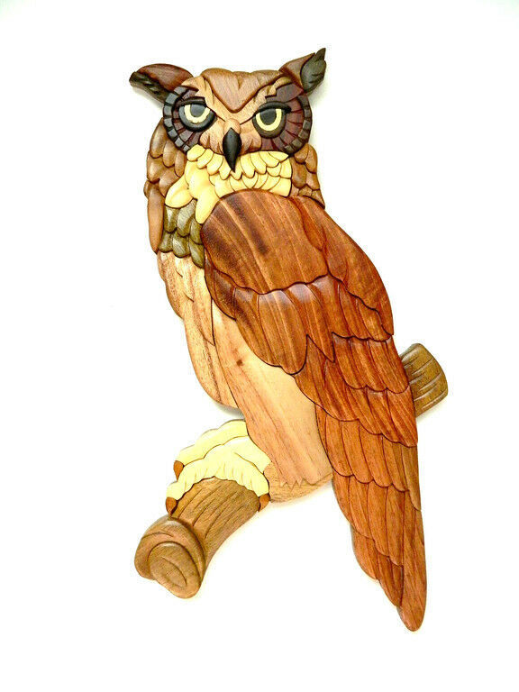 Great Horned Owl Bird Intarsia Wood Wall Art Home Decor Plaque Lodge New