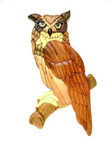 Great Horned Owl Bird Intarsia Wood Wall Art Home Decor Plaque Lodge New - $54.40