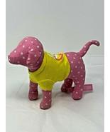 "VICTORIAS SECRET PINK PLUSH STUFFED POLKA DOT DOG IN YELLOW SHIRT 7"" LONG  - $8.99"