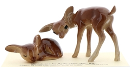 Hagen-Renaker Miniature Ceramic Deer Figurine Sister Doe and Fawn Sleeping Set