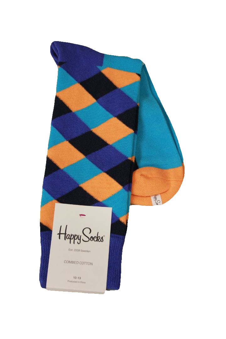 Happy Socks Men's Blue Diamond Socks, Sock Size 10-13