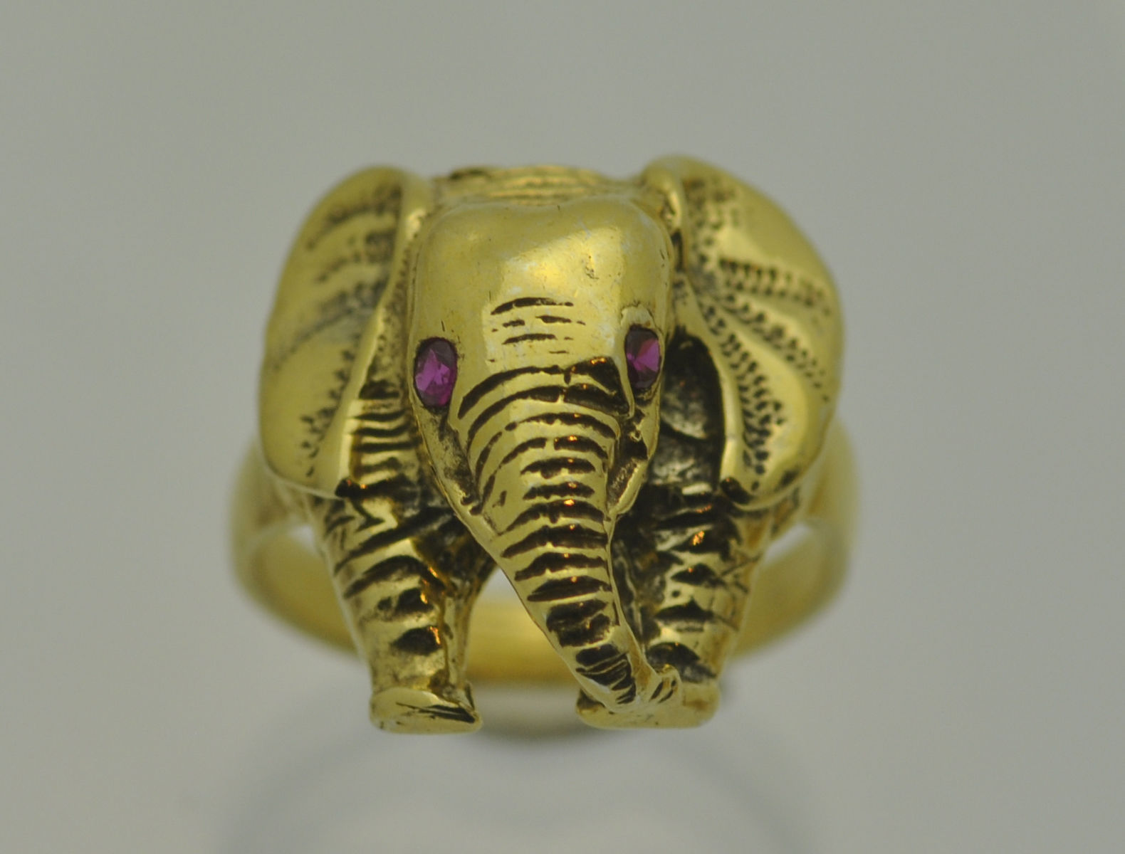NICE 24K GOLD PLATED REAL Sterling Silver Detailed Elephant Ring Jewelry ruby ey