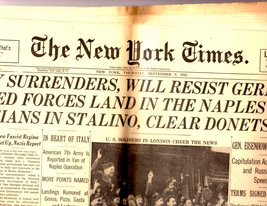 The New York Times, Thursday, septemebr 9, 1943 - $4.00