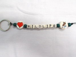 NEW CERAMIC BEAD HEART DISC & DEER DISC WILDLIFE TEXT LETTERS KEY CHAIN ... - $6.99