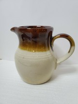 Vintage Stoneware Pour Over Brown Glaze Milk Creamer Pitcher Batter Jug - $19.80