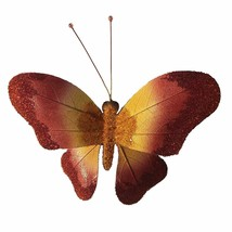 Eangee Home Designs Metal Handcrafted Leaf Butterfly Red Decor Sculpture - $46.99