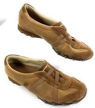 Skechers 46577 Bronze Brown Leather Elastic Strap Biker Sneakers Shoes W... - £19.11 GBP